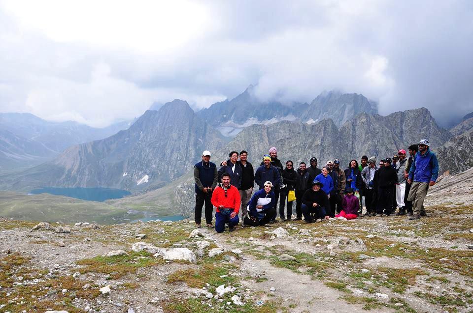 Group trekking to Great Lakes Kashmir